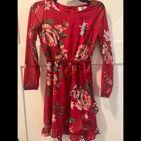 **Girls - Red floral, long sleeve, ruffle dress!**